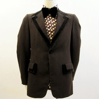 Tuxedo Jacket Vintage 70s Men's Brown Tux Formal Gangnam Style 40