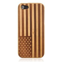 Hand Carved US Flag Wood Phone Case For iPhone 5