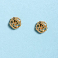 Gather Ye Rosebuds Gold Rose Earrings