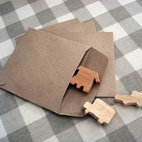 50 recycle kraft paper gift bag square 9.5cmX9.5cm great for card or organizer your stationary