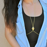 Body chain. Simple body chain. Hamsa body chain. Hamsa Jewelry.