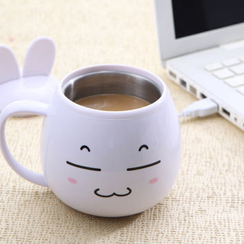 lovely Cartoon USB charging heated stainless steel insulated cup