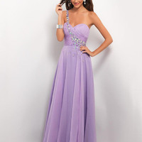 Gorgeous One Shoulder Strapless Pleated and Beaded Chiffon Prom Dress from Dresses Show