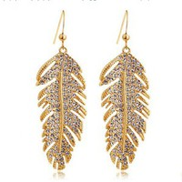 fancymall  Elegant leaf woman earrings