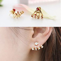 Pink Cute Kiss Rhinestone Earrings