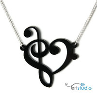 Music Notes Heart 2 Acrylic Pendant with Chain by artstudio54