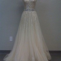 FancyGirl — Gorgeous A-line Sweetheart Tulle Prom Dress with Sequins