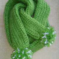 Saint Patrick's Day Green Pom Pom Knit Scarf