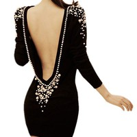 Elegant Ladies Sexy Open Back Embroidered Faux Pearl Cocktail Party Club Dress
