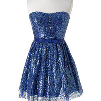 Allover Sequin Bow Tie Dress