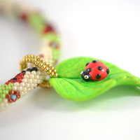 "Bead Crochet Necklace  ""Ladybug""  White  Green  Red  Spring  Polymer clay  Beadwork Jewelry  Free shipping  Boho Hippie"