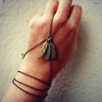 alapop  feather triple wrap slave bracelet