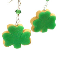Shamrock cookie earrings by inediblejewelry on Etsy