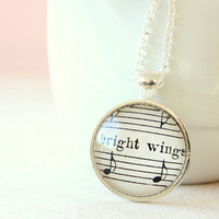 Sheet music necklace.  Silver plated pendant on chain made with vintage sheet music under glass dome.  Angel gift, bright wings