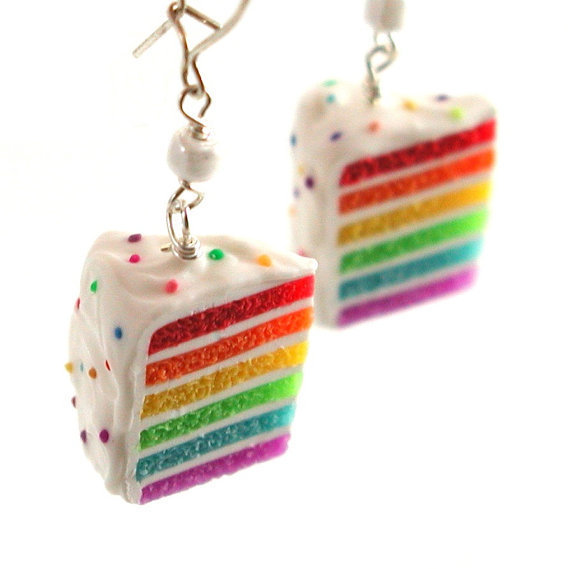 Rainbow cake earrings by inediblejewelry on Etsy