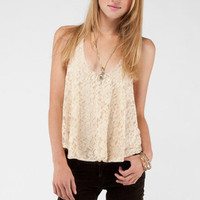 Sweet and Low Lace Tank Top in Cream :: tobi