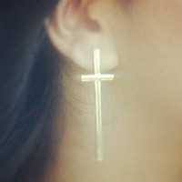 Instafashion  Silver Cross Earrings
