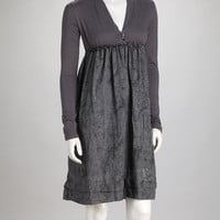 Charcoal Wildflower Empire-Waist Dress