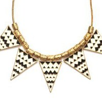Zig Zag Triangle Bib Necklace White Black Tribal Spike Stations Geometric Statement Collar Modern Vintage Fashion Jewelry: Jewelry: Amazon.com