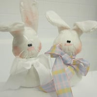 Whimsical Primitive Set of 2 White Bunny by craftylittlekitten