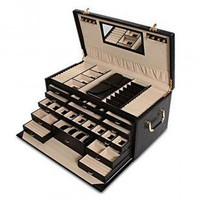 Morelle Leather Jewelry Box With Jewelry Roll - A22635 - Jewelry Boxes - Decorative Accents - Decor