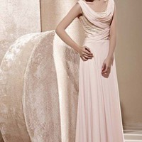 Tina in Pink Cowl Embellished Bridesmaid Dress