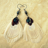 Peacock Feather Earrings - White Peacock Feathers, Beaded Feather Jewelry - Apparition (Ready to Ship)