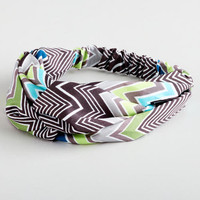 Gray and Green Zigzag Twisted Knot Headband