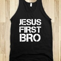 Jesus First Bro Black Tank