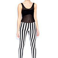 Louisa Monochrome Basic Striped Leggings at boohoo.com
