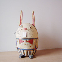 Ceramic Easter bunny , Easter bunny ceramic box made of stoneware clay with fired gold