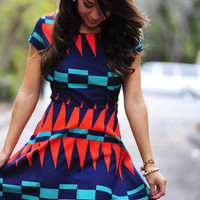 She&#x27;s An Island Girl Dress: Navy/Red | Hope&#x27;s