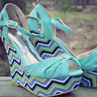 Lady Chevron Wedge Sandals Mint