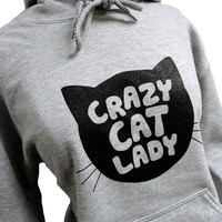 Crazy Cat Lady Hoodie - CAT Silhouette Grey Sweatshirt - Unisex Sizes S, M, L, XL