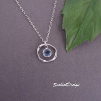 Circle Necklace Swarovski Birthstone Necklace by SnobishDesign