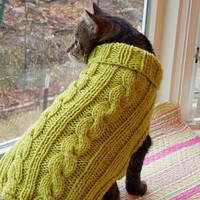 Dog or Cat Sweater Hand Knit Cable Sierra Medium 14 Long by jenya2