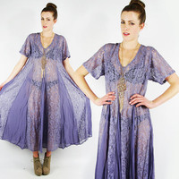 vtg 90s grunge revival boho LAVENDER purple SHEER floral LACE cut out patchwork full sweep swing festival maxi dress S M L