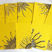 Hand Drawn Note Cards in Yellow - Set of 10 - Envelopes included