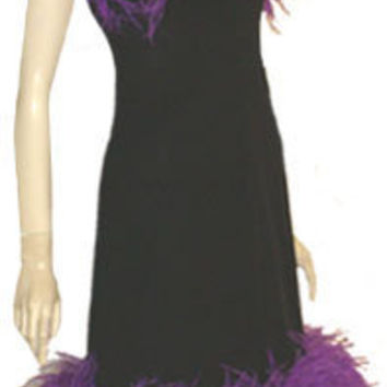 Ostrich Feathers Vintage Clothing 1970s Dress