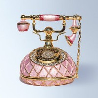 Pink Telephone Box set with Swarovski Crystals Vintage Style Antique Phone FIGURINE: Jewelry: Amazon.com