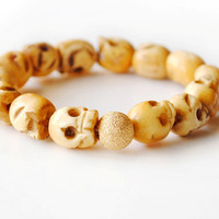 Skull Bone Bracelet 14kt gold by theblackfeather on Etsy