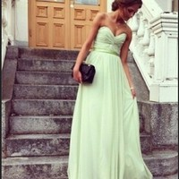 FancyGirl — Glamorous Sage Sweetheart Floor Length Prom Dress/Graduation Dresses