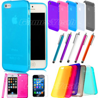 0.5mm Ultra-Thin Glossy Hard Case Cover Shell For iPhone 5 Stylus Screen Protect