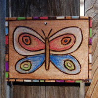 Small Butterfly woodburn wall art by begonia08 on Etsy