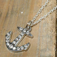 Rhinestone Anchor Necklace - Anchor Necklace - Rhinestone Necklace