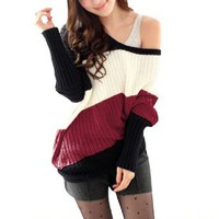 Amazon.com: Allegra K Ladies Slant Stripes Pullover Long Sleeve Leisure Knit Autumn Sweater Red XS: Clothing