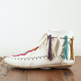 Free People Vintage White Lace-Up Mocassins