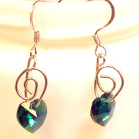 Emerald Heart Swarovski Crystal Earrings