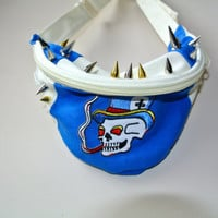 Custom Smoking Skeleton Spiked Fanny Pack Hip by MoonShineApparel