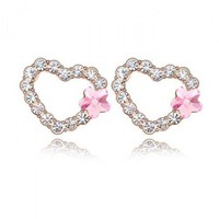 Cute Heart Shape Earrings with SWAROVSKI ELEMENTS Design